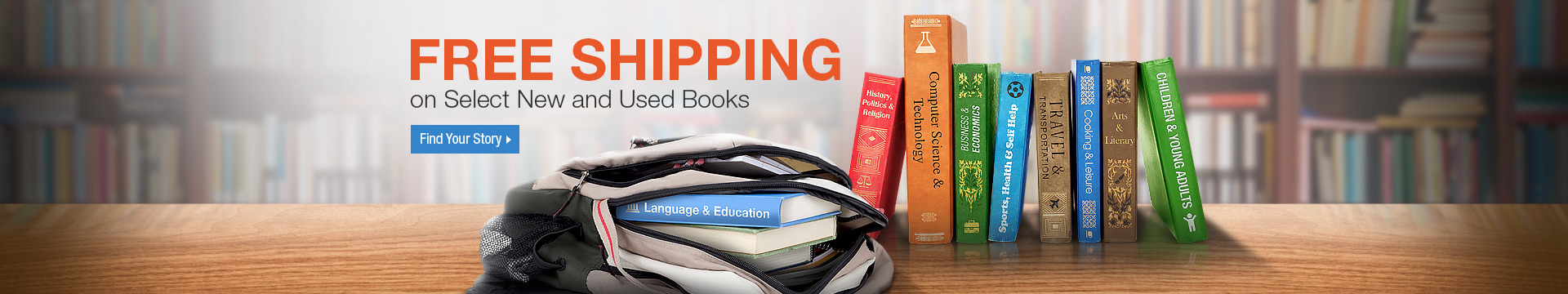 Free shipping on select new and used books