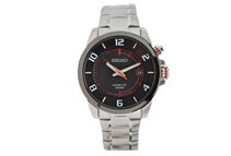 Seiko Men's Black Dial Stainless Steel Kinetic Watch