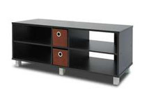 Furinno TV Enterntainment Center with 2 Bin Drawers, Espresso/Brown