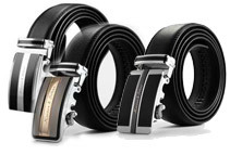 Kronen & Sohne Men's Leather Auto Lock Buckle Belt (5 Styles)