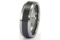 Tungsten Carbide Ring With Seamless Black Ceramic Inlay (16 Sizes)