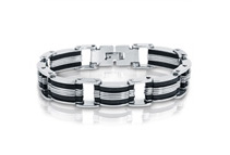 Men's 8inch Stainless Steel with Black Rubber Chain Link Bracelet