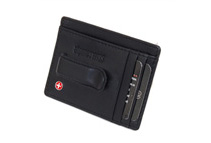 Alpine Swiss Men's Black Leather Money Clip Front Pocket Wallet