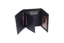 Alpine Swiss Men's Black Leather Trifold Wallets (2 Styles)