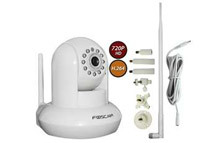 Foscam Wireless N IP Camera + 7-Piece Adjustable Bracket + Antenna Booster Kit (2 Colors)