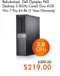 Refurbished: Dell Optiplex 960 Desktop 3.0GHz Core2 Duo 4GB Win 7 Pro 64 Bit (1 Year Warranty)