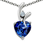 Star K 1.95 cttw. Heart Shaped 8mm Created Sapphire in Sterling Silver Pendant