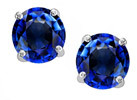 Star K 3.00 cttw. Round 7mm Created Sapphire in Sterling Silver Stud Earrings