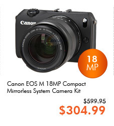 "Canon EOS M 18MP 3.0"" 1040K LCD Compact Mirrorless System Camera Kit"