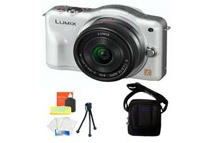 Panasonic LUMIX DMC-GF3CW White Digital Camera w/ 14mm Lens + Soft Carry Case + Screen & Lens Essential Kit