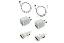 iPhone 5 Lightning 8-Pin Cable + Car Charger + Wall Adapter, 2-Pack