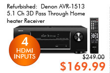 Refurbished: Denon AVR-1513 5.1 Ch 3D Pass Through Home Theater Receiver