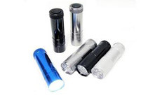 Aluminum 9-LED Flashlights with Batteries, 6/Pk