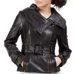 Jessie G. Women's Asymmetrical Zip Front Lambskin Leather Jacket (3 Sizes)