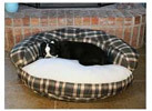 25inch Round Bolster Green Plaid Pet Bed