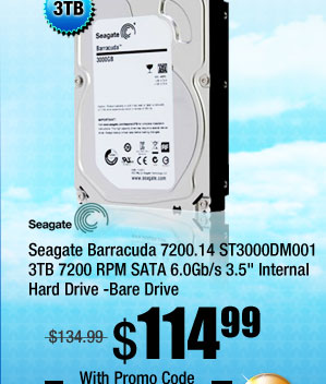 Seagate Barracuda 7200.14 ST3000DM001 3TB 7200 RPM SATA 6.0Gb/s 3.5 inch Internal Hard Drive -Bare Drive