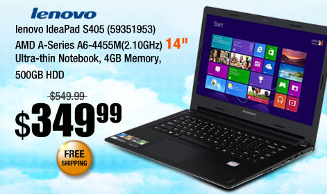 lenovo IdeaPad S405 (59351953) AMD A-Series A6-4455M(2.10GHz) 14 inch Ultra-thin Notebook, 4GB Memory, 500GB HDD