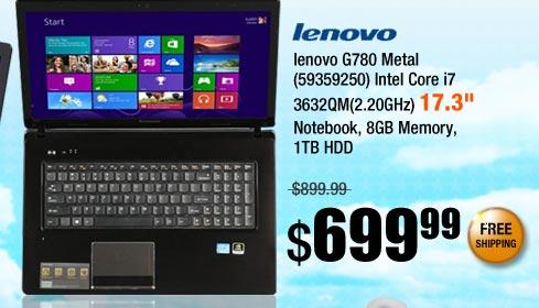 lenovo G780 Metal (59359250) Intel Core i7 3632QM(2.20GHz) 17.3 inch Notebook, 8GB Memory, 1TB HDD