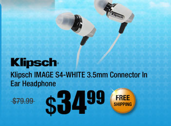 Klipsch IMAGE S4-WHITE 3.5mm Connector In Ear Headphone