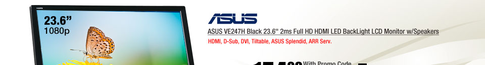 ASUS VE247H Black 23.6 inch 2ms Full HD HDMI LED BackLight LCD Monitor w/Speakers