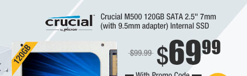 "Crucial M500 120GB SATA 2.5"" 7mm (with 9.5mm adapter) Internal SSD"