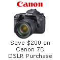 Save 200 On Canon 7D DSLR Purchase.