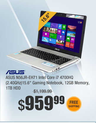 "ASUS N56JR-EH71 Intel Core i7 4700HQ (2.40GHz)15.6"" Gaming Notebook, 12GB Memory"