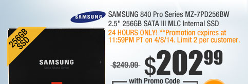 "SAMSUNG 840 Pro Series MZ-7PD256BW 2.5"" 256GB SATA III MLC Internal SSD"