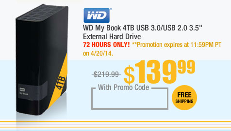 "WD My Book 4TB USB 3.0/USB 2.0 3.5"" External Hard Drive"