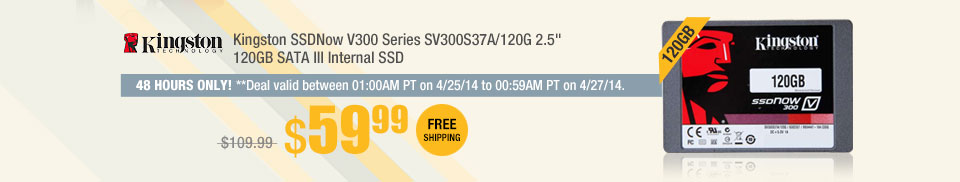 "Kingston SSDNow V300 Series SV300S37A/120G 2.5"" 120GB SATA III Internal SSD"