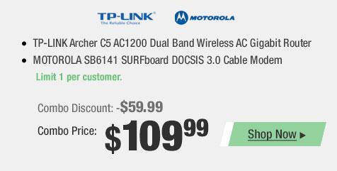 TP-LINK Archer C5 AC1200 Dual Band Wireless AC Gigabit Router MOTOROLA SB6141 SURFboard DOCSIS 3.0 Cable Modem