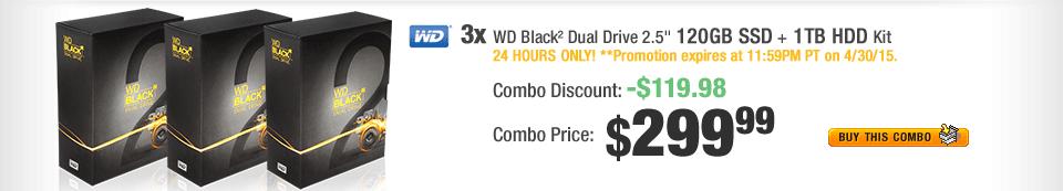 """COMBO: 3x WD Black² Dual Drive 2.5"""" 120 GB SSD + 1 TB HDD Kit"""