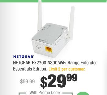 NETGEAR EX2700 N300 WiFi Range Extender Essentials Edition