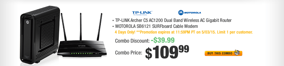 Combo: TP-LINK Archer C5 AC1200 Dual Band Wireless AC Gigabit Router;  MOTOROLA SB6121 SURFboard Cable Modem