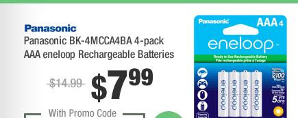 Panasonic BK-4MCCA4BA 4-pack AAA eneloop Rechargeable Batteries
