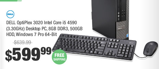 DELL OptiPlex 3020 Intel Core i5 4590 (3.30GHz) Desktop PC, 8GB DDR3, 500GB HDD, Windows 7 Pro 64-Bit