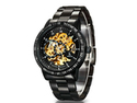 Men's Stainless Steel Automatic Skeleton Mechanical Wristwatch w/ Japanese Seiko Automatic Movement