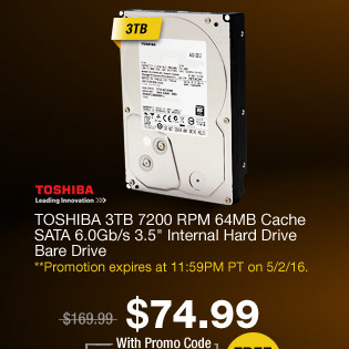 "TOSHIBA 3TB 7200 RPM 64MB Cache SATA 6.0Gb/s 3.5"" Internal Hard Drive Bare Drive"