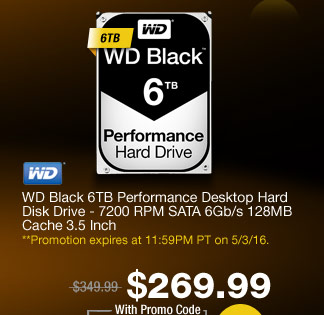 WD Black 6TB Performance Desktop Hard Disk Drive - 7200 RPM SATA 6Gb/s 128MB Cache 3.5 Inch