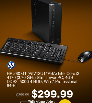 HP 280 G1 (P5V12UT#ABA) Intel Core i3 4170 (3.70 GHz) Slim Tower PC, 4GB DDR3, 500GB HDD, Win 7 Professional 64-Bit