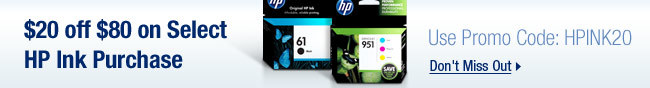 HP - $20 off $80 on Select HP Ink Purchase
