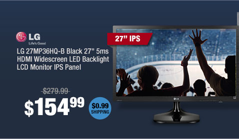 "LG 27MP36HQ-B Black 27"" 5ms HDMI Widescreen LED Backlight LCD Monitor IPS Panel"