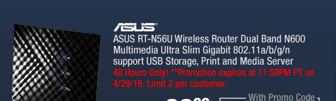 ASUS RT-N56U Wireless Router Dual Band N600 Multimedia Ultra Slim Gigabit 802.11a/b/g/n support USB Storage, Print and Media Server
