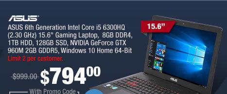 "ASUS 6th Generation Intel Core i5 6300HQ (2.30 GHz) 15.6"" Gaming Laptop,  8GB DDR4, 1TB HDD, 128GB SSD, NVIDIA GeForce GTX 960M 2GB GDDR5, Windows 10 Home 64-Bit"