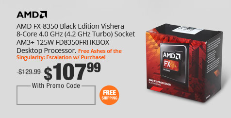 AMD FX-8350 Black Edition Vishera 8-Core 4.0 GHz (4.2 GHz Turbo) Socket AM3+ 125W FD8350FRHKBOX Desktop Processor