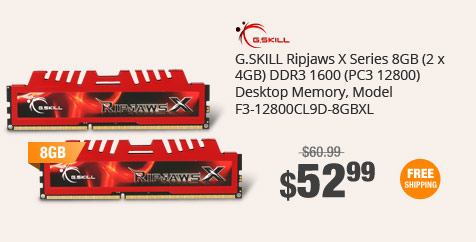 G.SKILL Ripjaws X Series 8GB (2 x 4GB) DDR3 1600 (PC3 12800) Desktop Memory, Model F3-12800CL9D-8GBXL