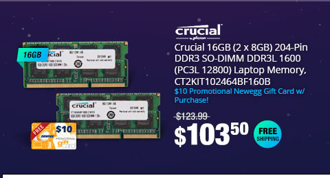 Crucial 16GB (2 x 8G) 204-Pin DDR3 SO-DIMM DDR3L 1600 (PC3L 12800) Laptop Memory, CT2KIT102464BF160B