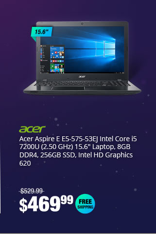 "Acer Aspire E E5-575-53EJ Intel Core i5 7200U (2.50 GHz) 15.6"" Laptop, 8GB DDR4, 256GB SSD, Intel HD Graphics 620"