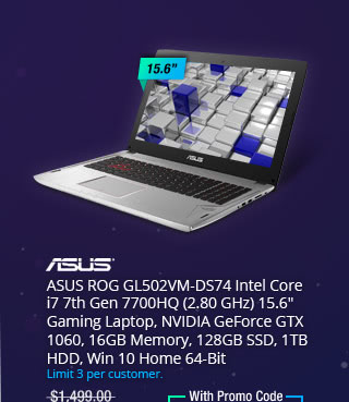 "ASUS ROG GL502VM-DS74 Intel Core i7 7th Gen 7700HQ (2.80 GHz) 15.6"" Gaming Laptop, NVIDIA GeForce GTX 1060, 16GB Memory, 128GB SSD, 1TB HDD, Win 10 Home 64-Bit"