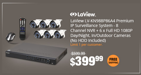 LaView LV-KN988P86A4 Premium IP Surveillance System - 8 Channel NVR + 6 x Full HD 1080P Day/Night, In/Outdoor Cameras (No HDD Included)
